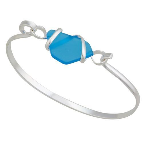 Alpaca Recycled Glass Freeform Bangles - Blue