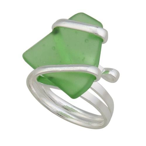 Alpaca Recycled Glass Freeform Rings - Green
