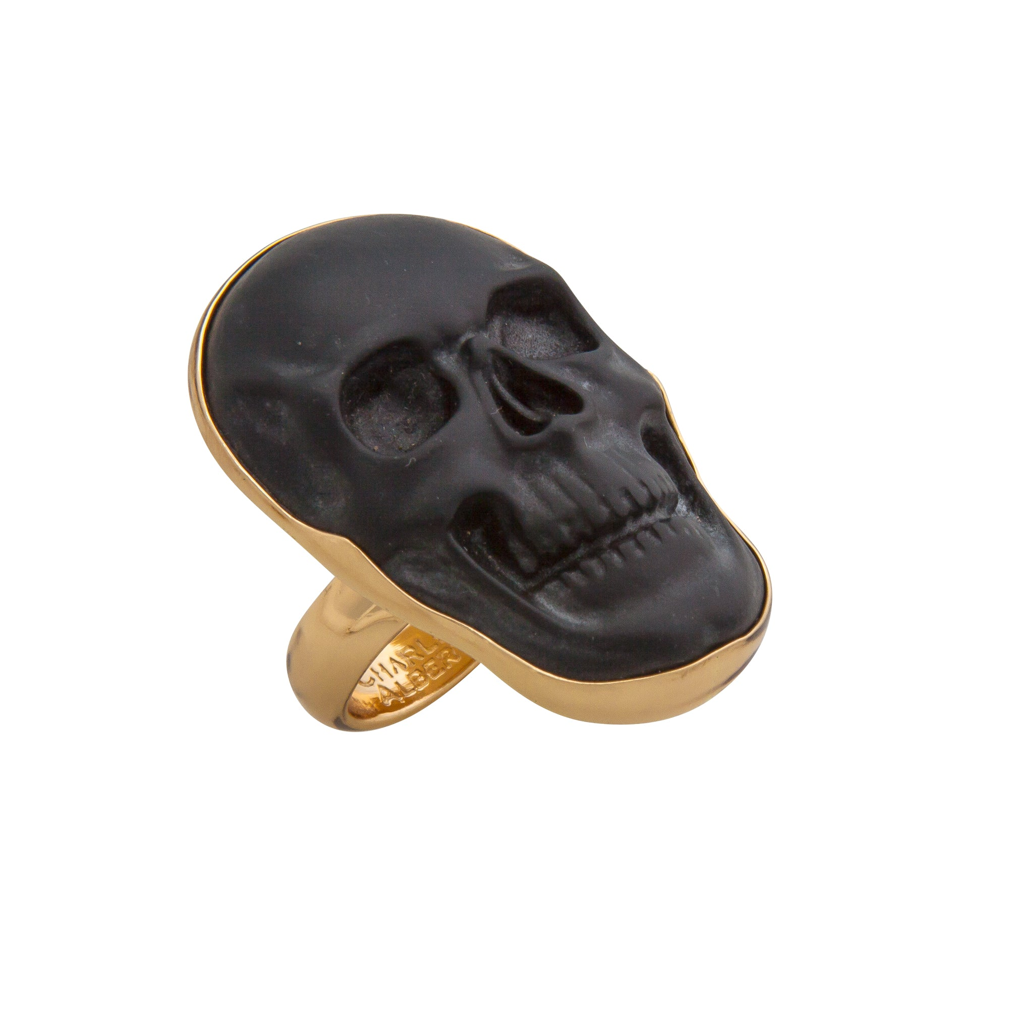Alchemia Obsidian Skull Adjustable Ring - Medium | Charles Albert Jewelry