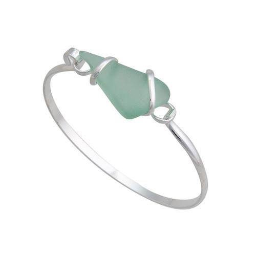 Alpaca Recycled Glass Freeform Bangles - Seafoam Green | Charles Albert Jewelry