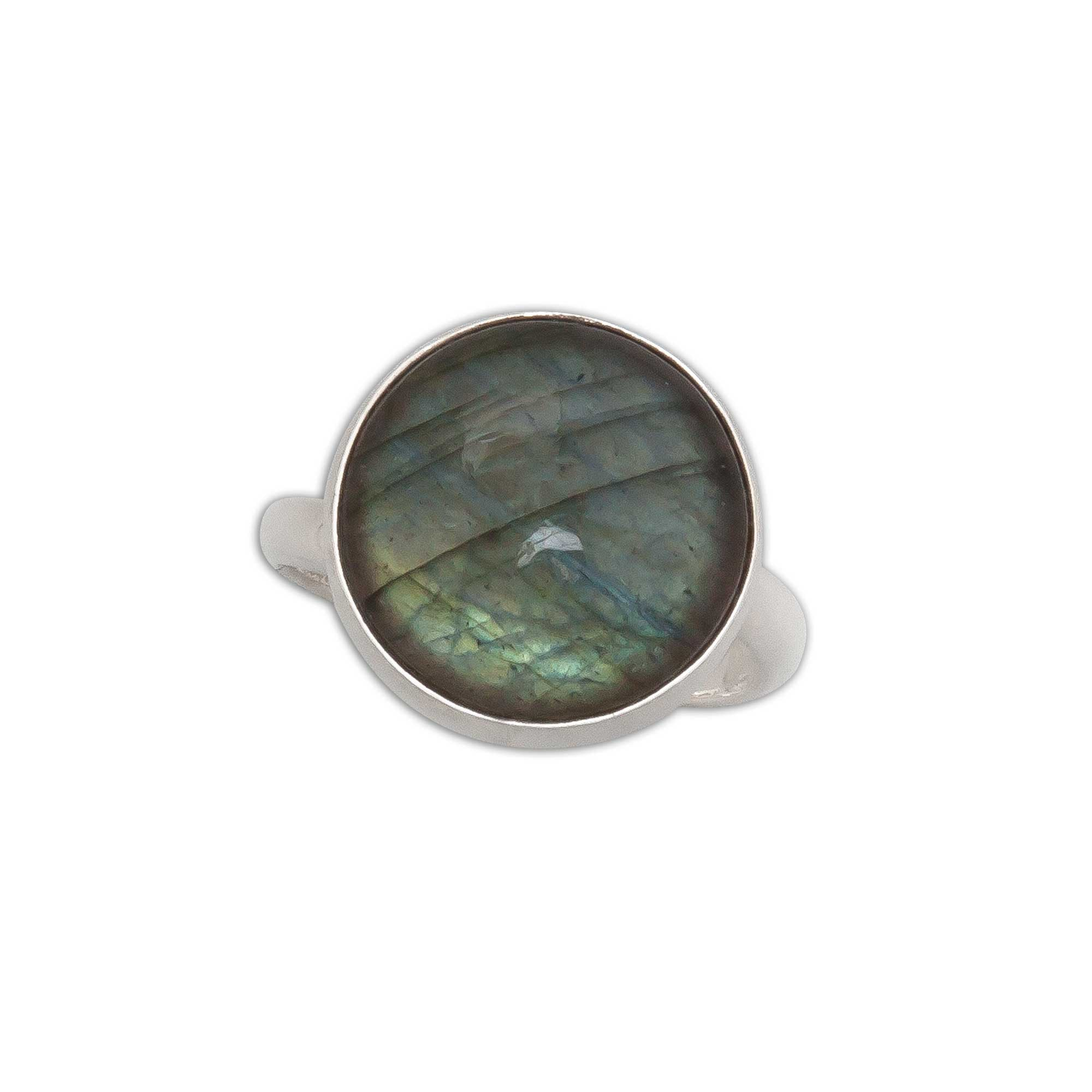 Sterling-Silver-Labradorite-Round-Adjustable-Ring-1-Charles Albert Inc