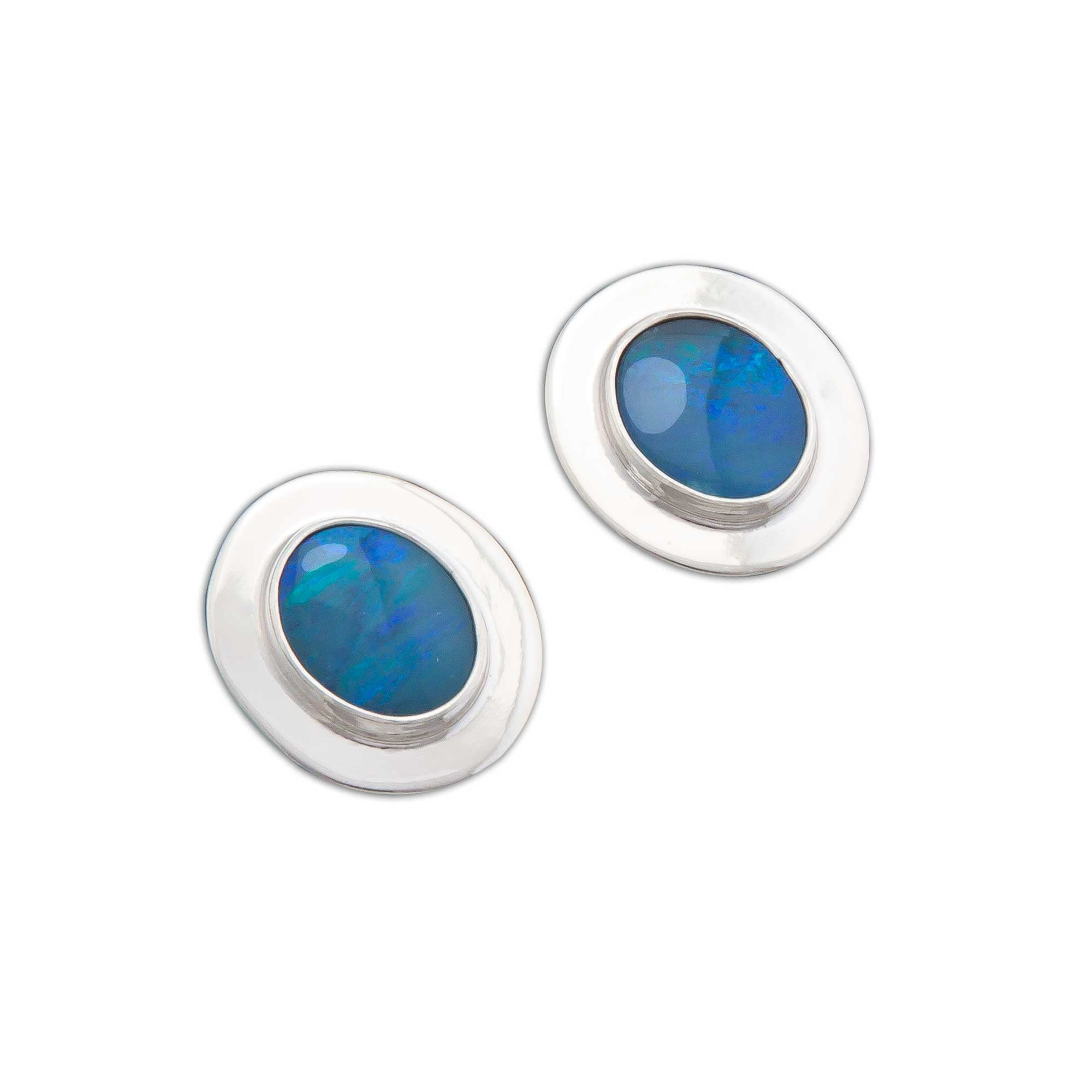 Sterling-Silver-Opal-Post-Earrings-with-Detailed-Edge-1-Charles Albert Inc
