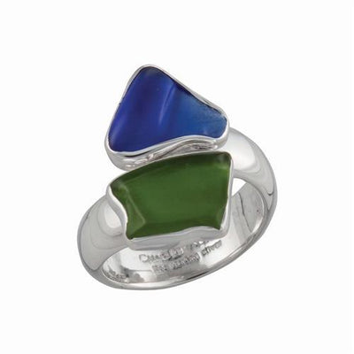sterling-silver-recycled-glass-bypass-adjustable-ring - 2 - Charles Albert Inc