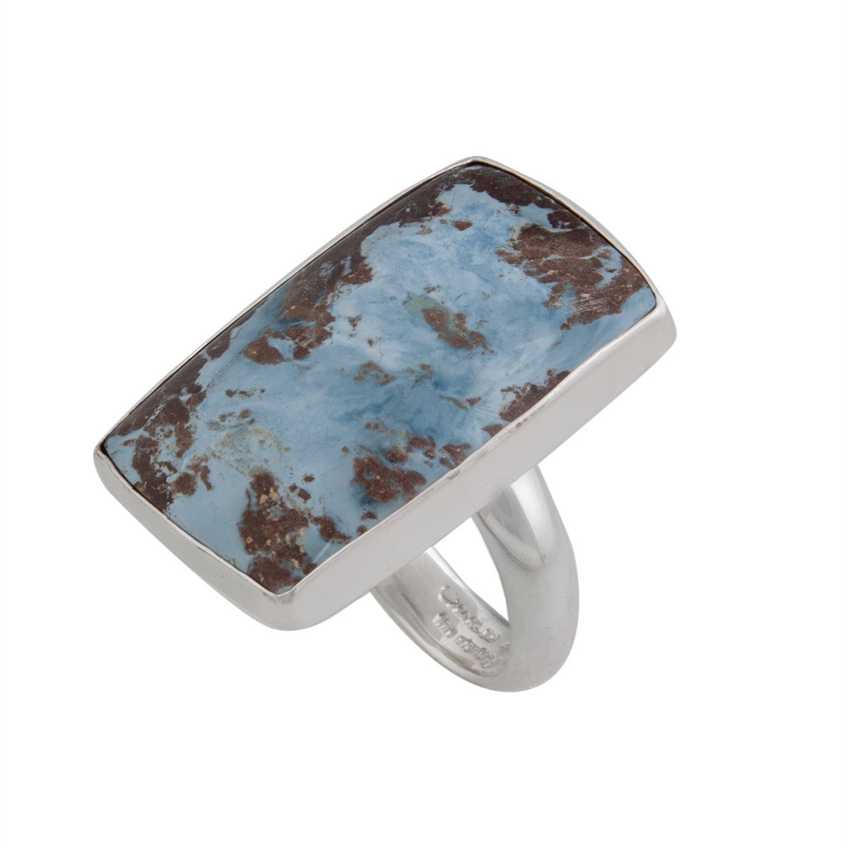 Sterling Silver Rectangular Aztec Lapis Adjustable Ring | Charles Albert Jewelry