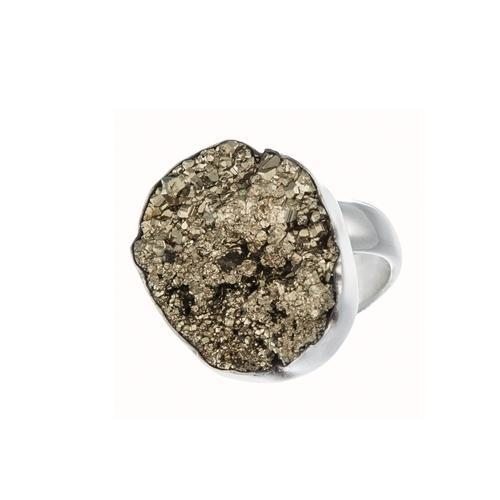Sterling Silver Pyrite Adjustable Ring