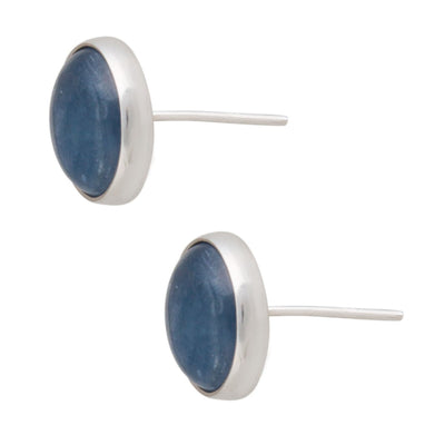sterling-silver-kyanite-post-earrings-round - 2 - Charles Albert Inc