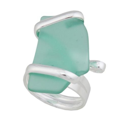 Alpaca Recycled Glass Freeform Rings - Mint | Charles Albert Jewelry