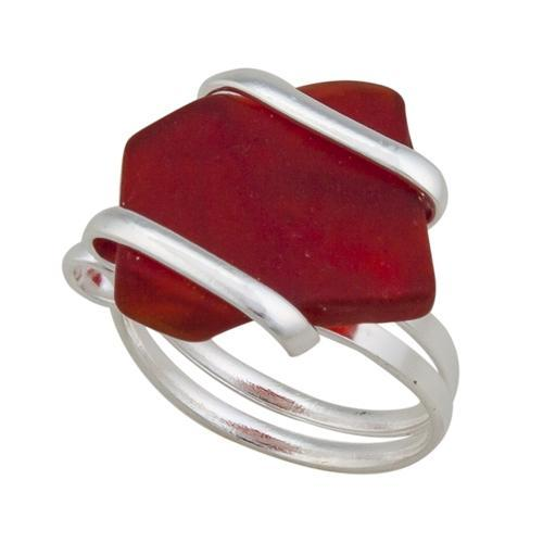 alpaca-recycled-glass-freeform-rings-red - 1 - Charles Albert Inc