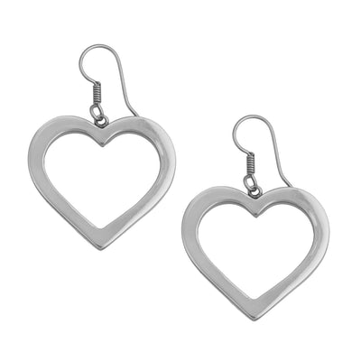 Sterling Silver Crazy About You Heart Drop Earrings