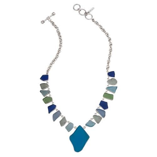 Sterling Silver Multi- Color Recycled Glass Necklace