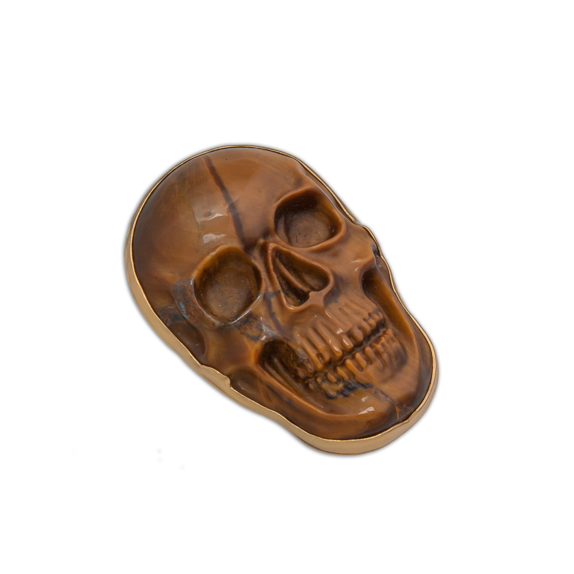 Alchemia Large Tiger Eye Skull Adjustable Ring | Charles Albert Jewelry