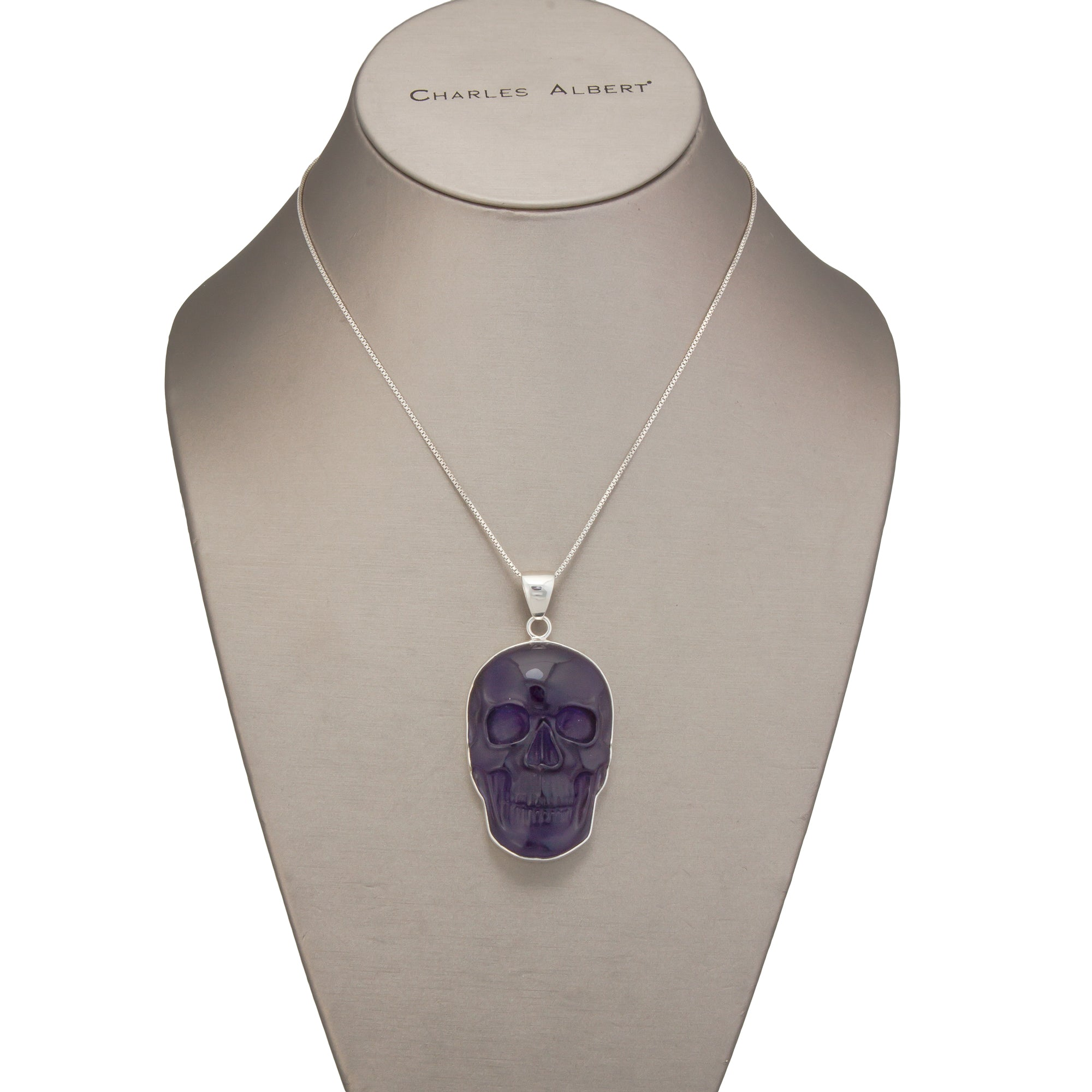 Sterling Silver Large Amethyst Skull Pendant | Charles Albert Jewelry