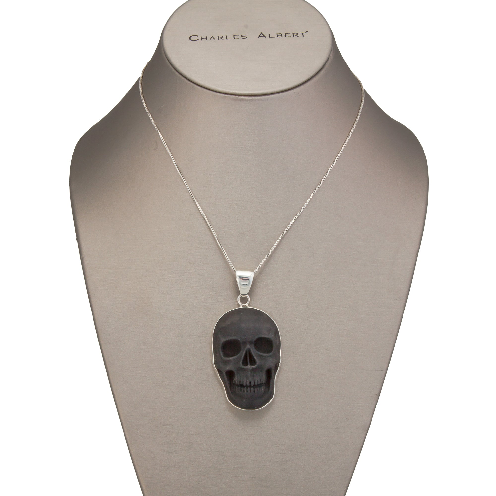 Sterling Silver Large Obsidian Skull Pendant | Charles Albert Jewelry