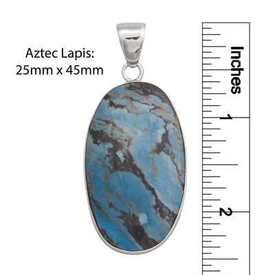 Sterling Silver Oval Aztec Lapis Pendant