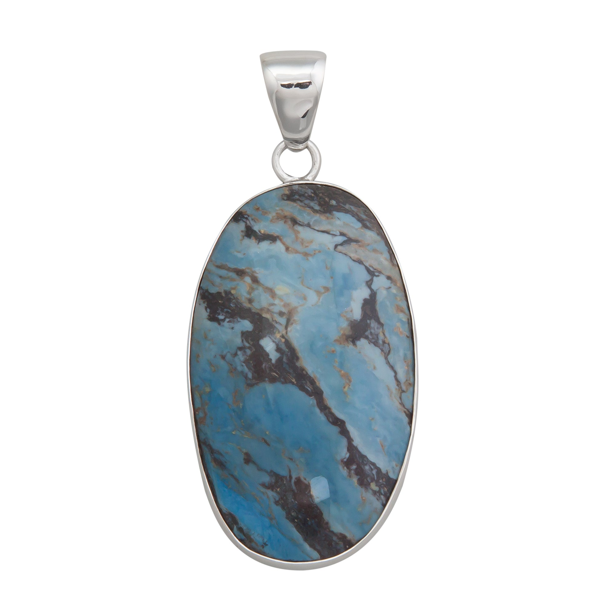 Sterling Silver Oval Aztec Lapis Pendant | Charles Albert Jewelry