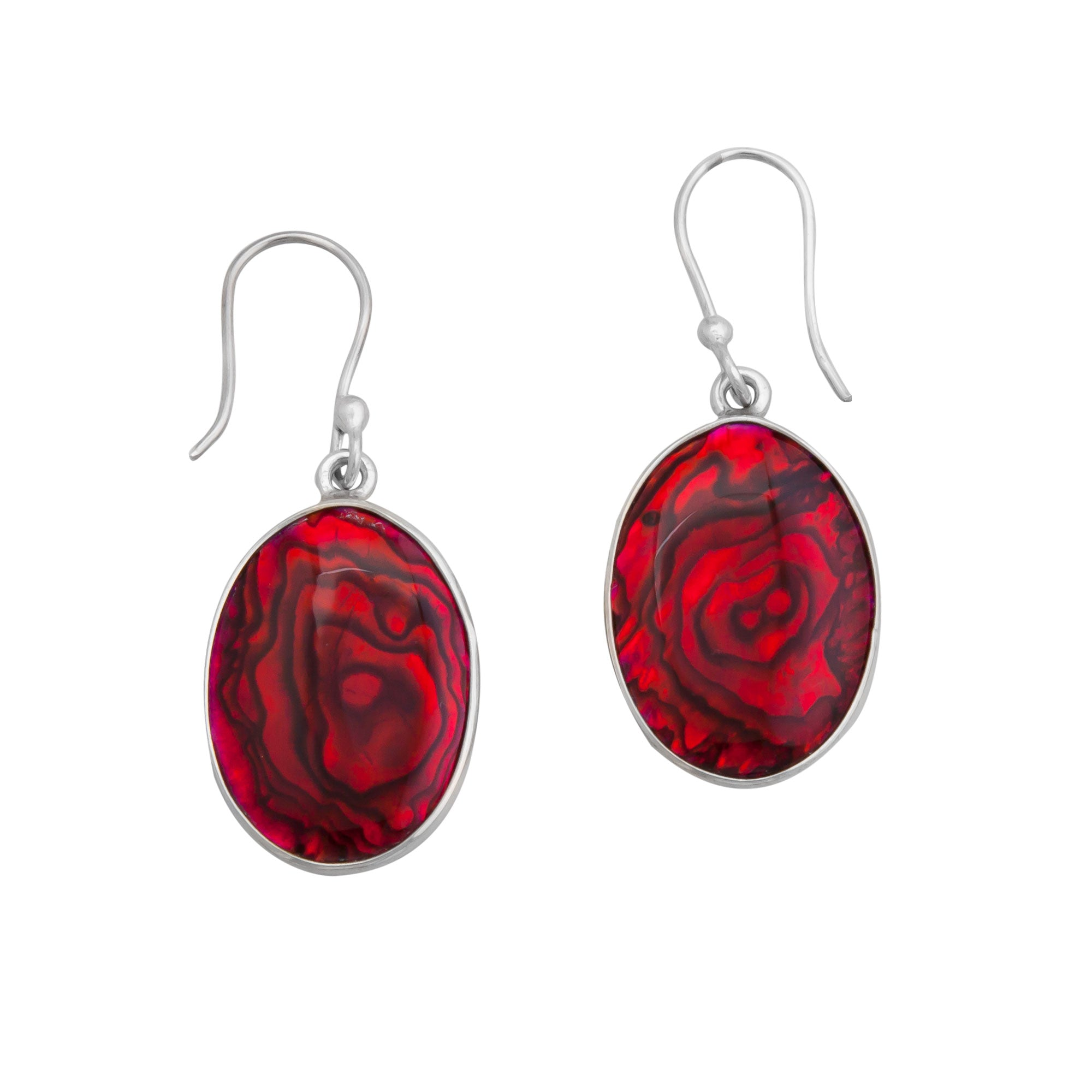 Sterling Silver Oval Red Abalone Drop Earrings