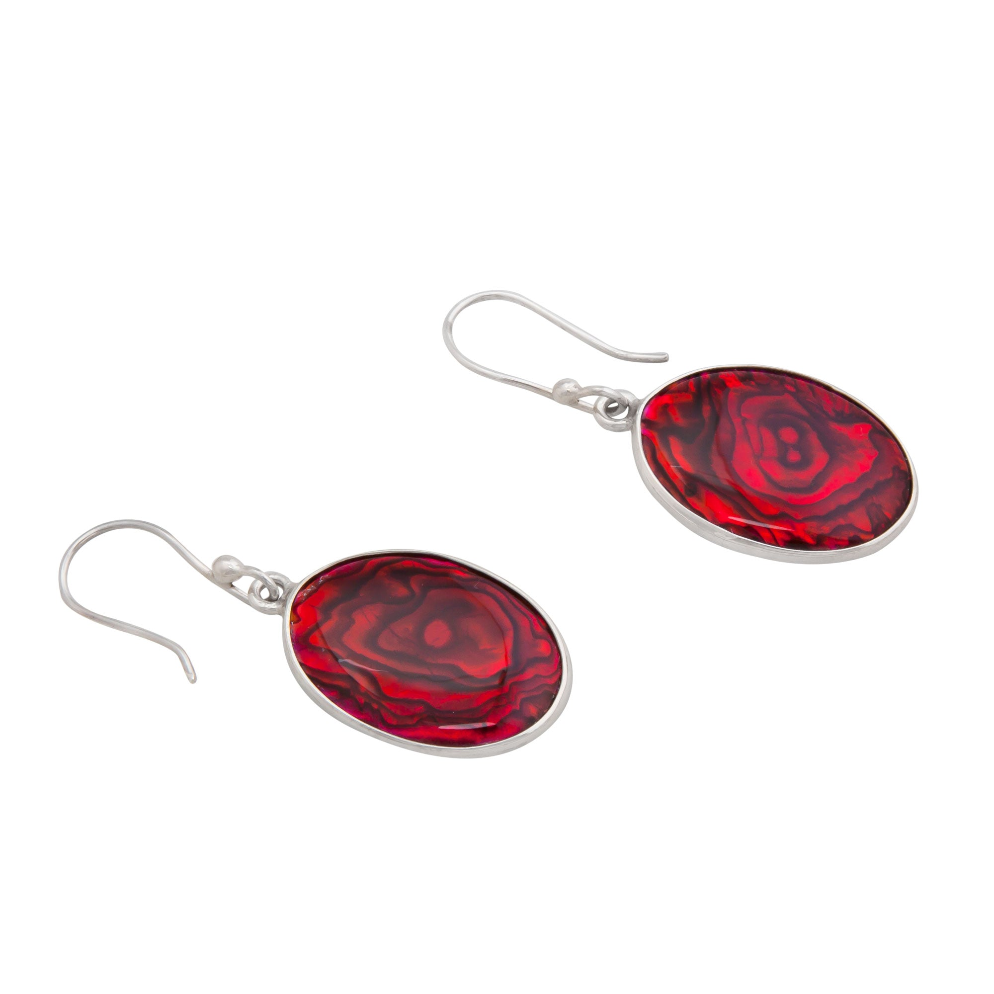 Sterling Silver Oval Red Abalone Drop Earrings | Charles Albert Jewelry