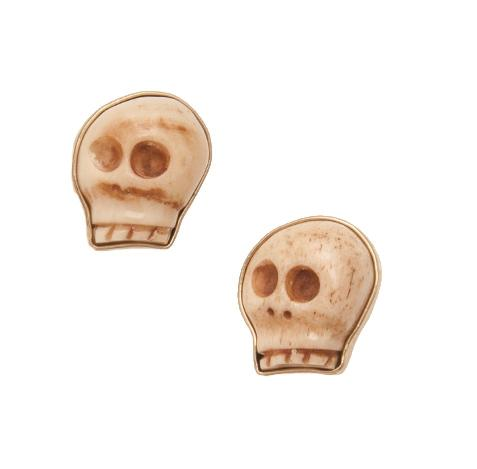 Alchemia Carved Bone Skull Post Earrings | Charles Albert Jewelry