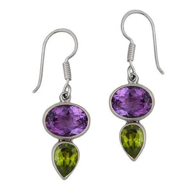 sterling-silver-amethyst-synthetic-peridot-earrings - 1 - Charles Albert Inc