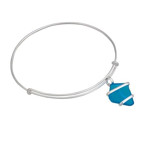 Alpaca Recycled Glass Freeform Adjustable Charm Bangle - Blue | Charles Albert Jewelry