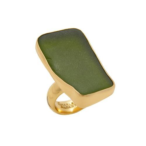 Alchemia Green Recycled Glass Adjustable Ring | Charles Albert Jewelry