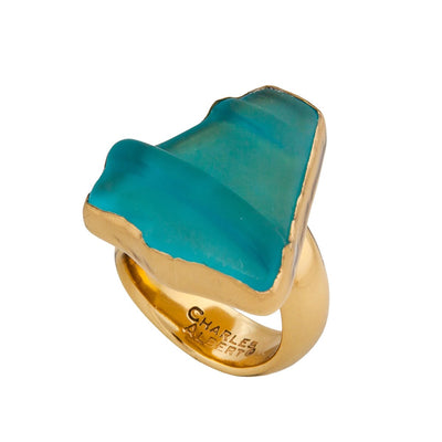alchemia-aqua-recycled-glass-adjustable-ring - 1 - Charles Albert Inc