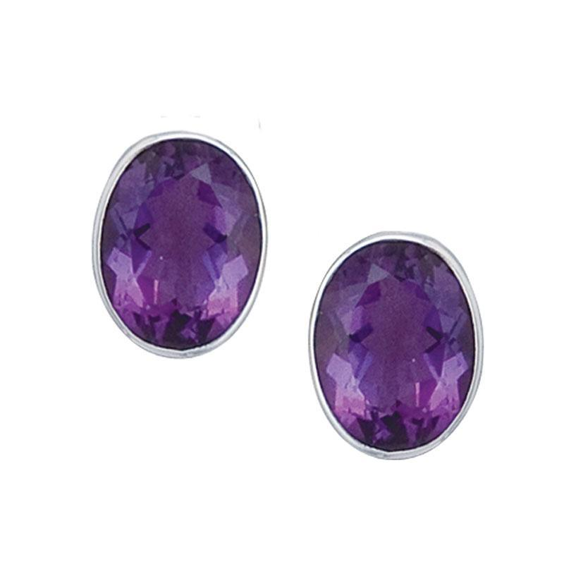 sterling-silver-amethyst-post-earrings-2 - 1 - Charles Albert Inc