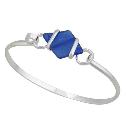 Alpaca Recycled Glass Freeform Bangles - Cobalt Blue