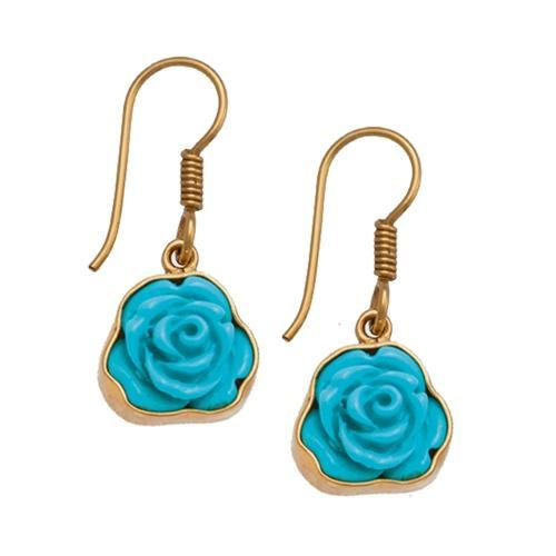 Resin Flower Drop Earrings - Teal | Charles Albert Jewelry