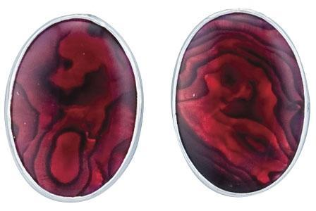 Sterling Silver Oval Red Abalone Clip Earrings
