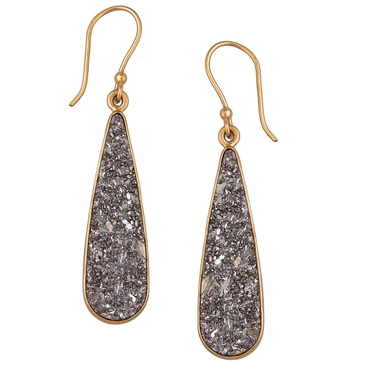 Alchemia Platinum Druse Teardrop Earrings | Charles Albert Jewelry