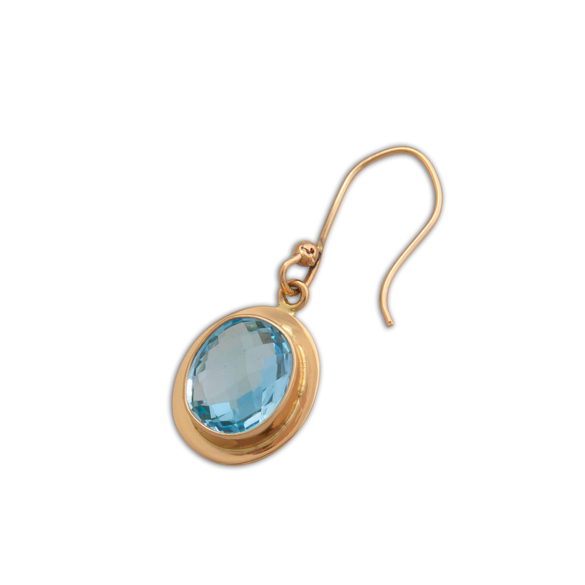 Alchemia Blue Topaz Drop Earrings with Detailed Edge