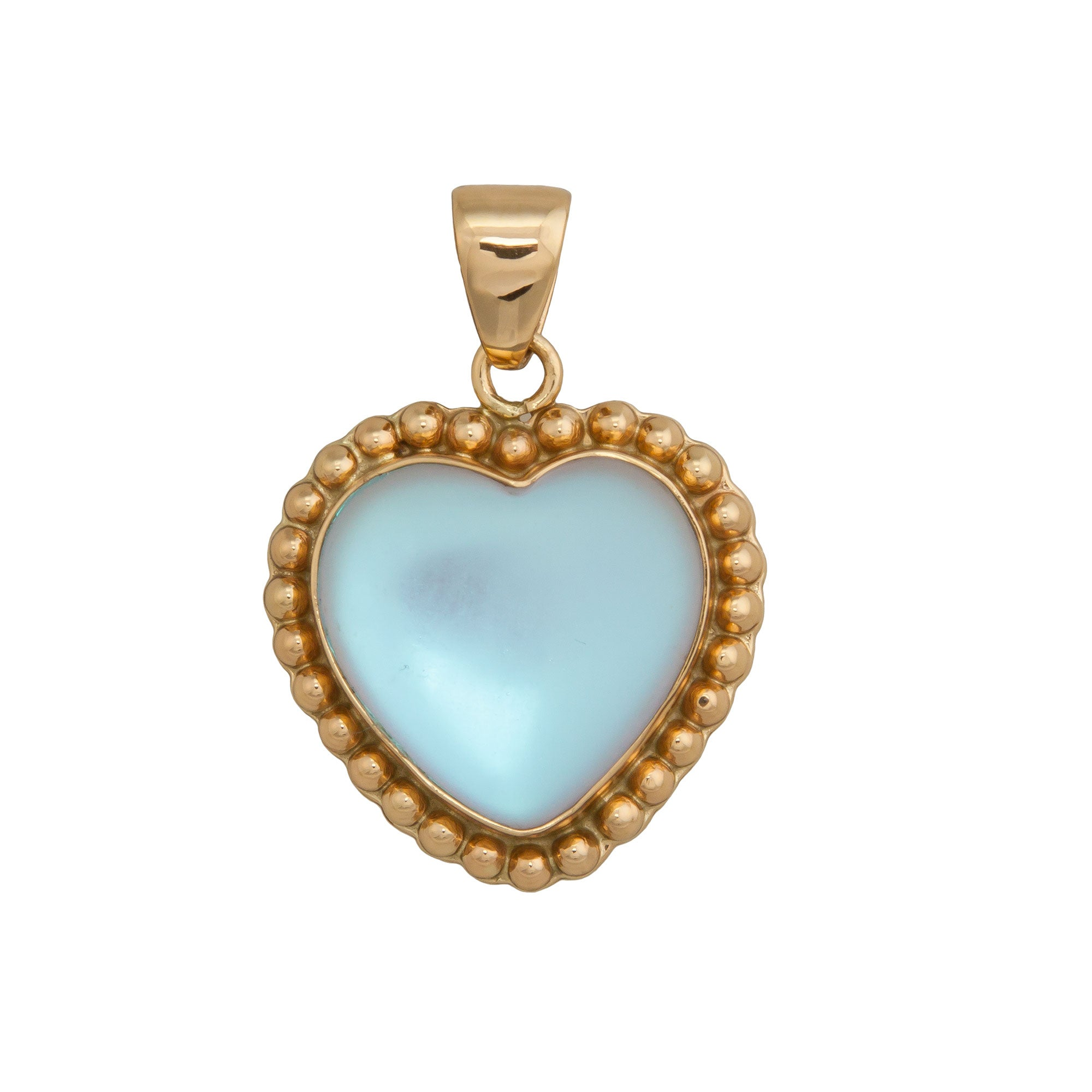 Alchemia Luminite Heart Pendant with Detailed Edge | Charles Albert Inc