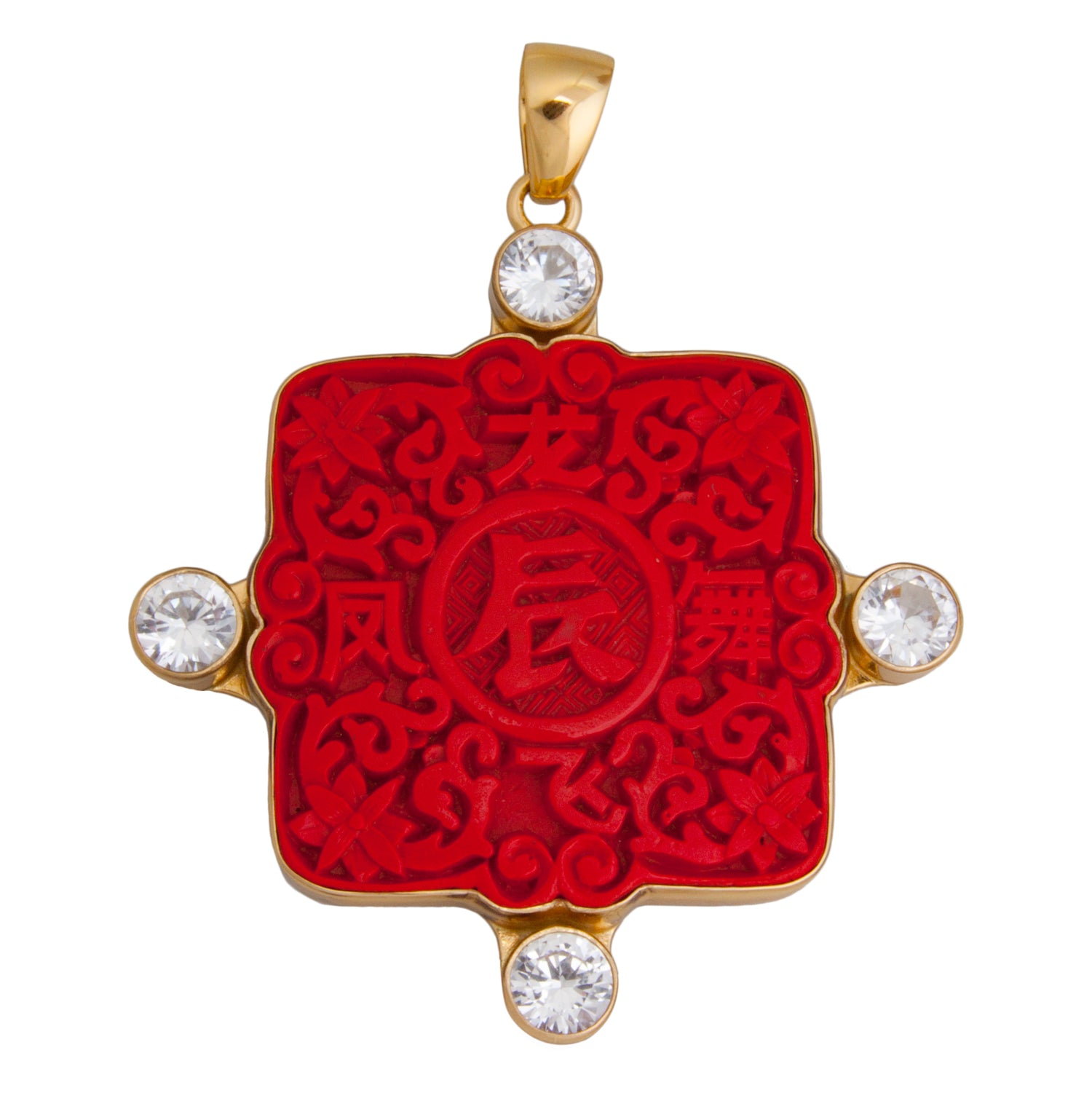 Alchemia Cinnabar and Quartz Pendant | Charles Albert Jewelry