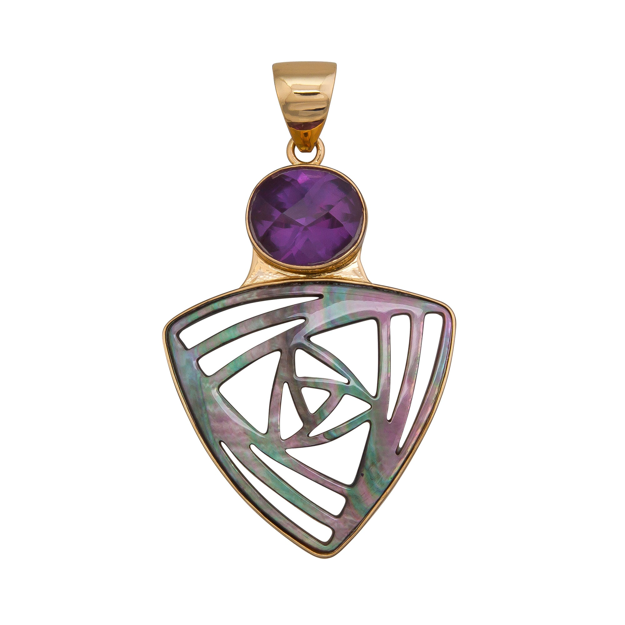 Alchemia-Lab-Alexandrite-and-Abstract-Gray-Mother-of-Pearl-Pendant-1-Charles Albert Inc