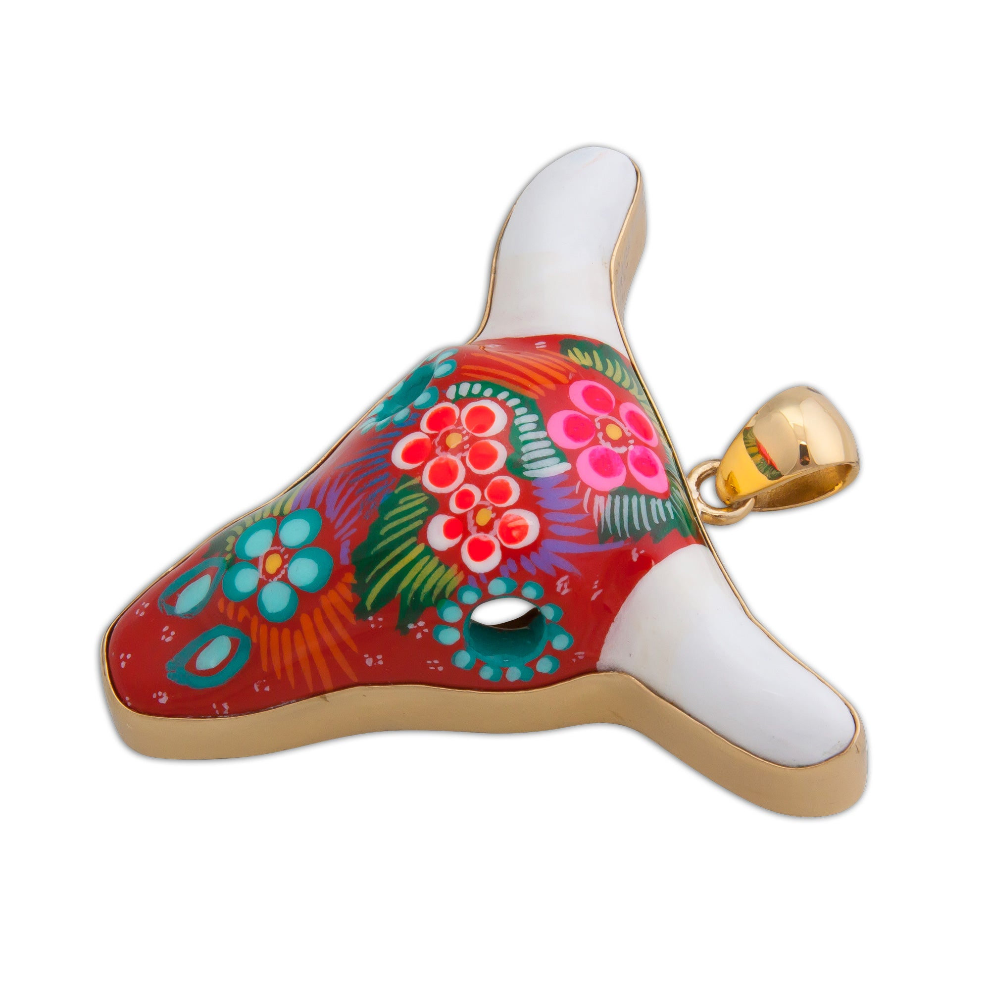 Alchemia-Hand-Painted-Red-Ceramic-Cow-Skull-Pendant-1-Charles Albert Inc