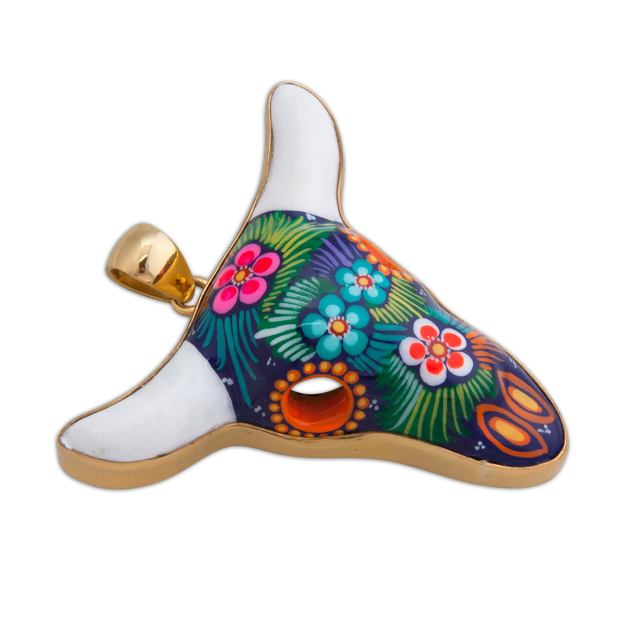 Alchemia Hand Painted Ceramic Cow Skull Pendant - Taxco