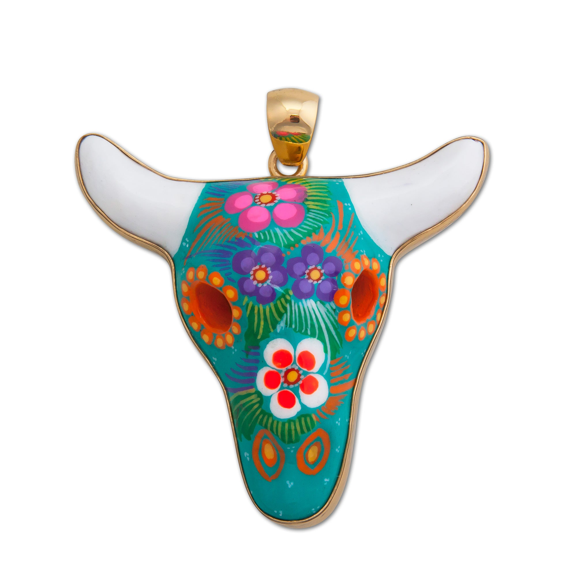 Alchemia-Hand-Painted-Teal-Ceramic-Cow-Skull-Pendant-1-Charles Albert Inc