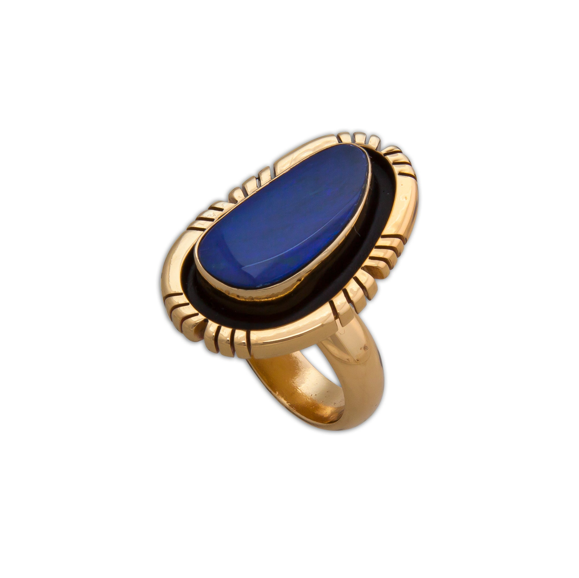 Alchemia Opal Adjustable Ring with Detailed Edge | Charles Albert Inc