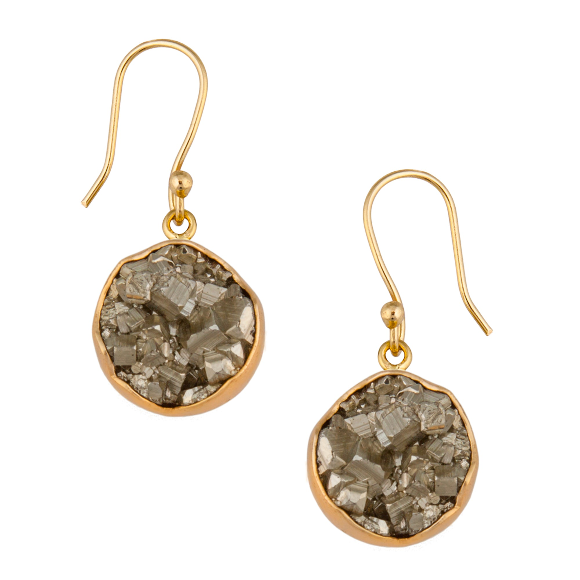 Alchemia Pyrite Round Dangle Earrings