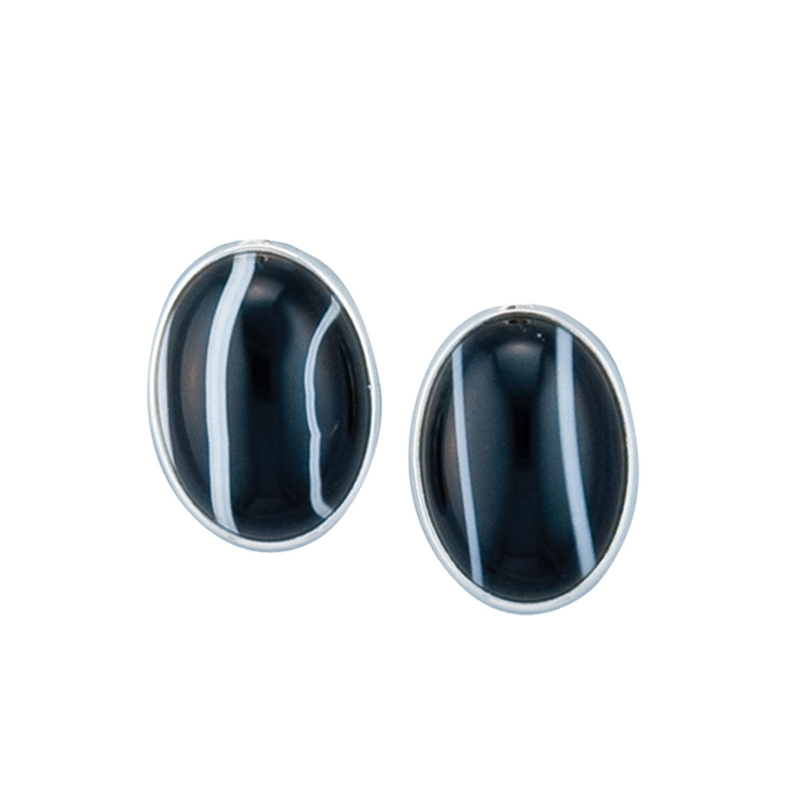 Sterling Silver Oval Black Sardonyx Clip Earrings