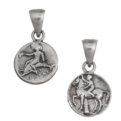sterling-silver-boy-on-dolphin-pendant - 1 - Charles Albert Inc
