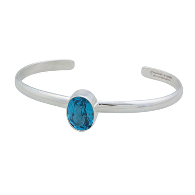 sterling-silver-blue-topaz-mini-cuff - 2 - Charles Albert Inc