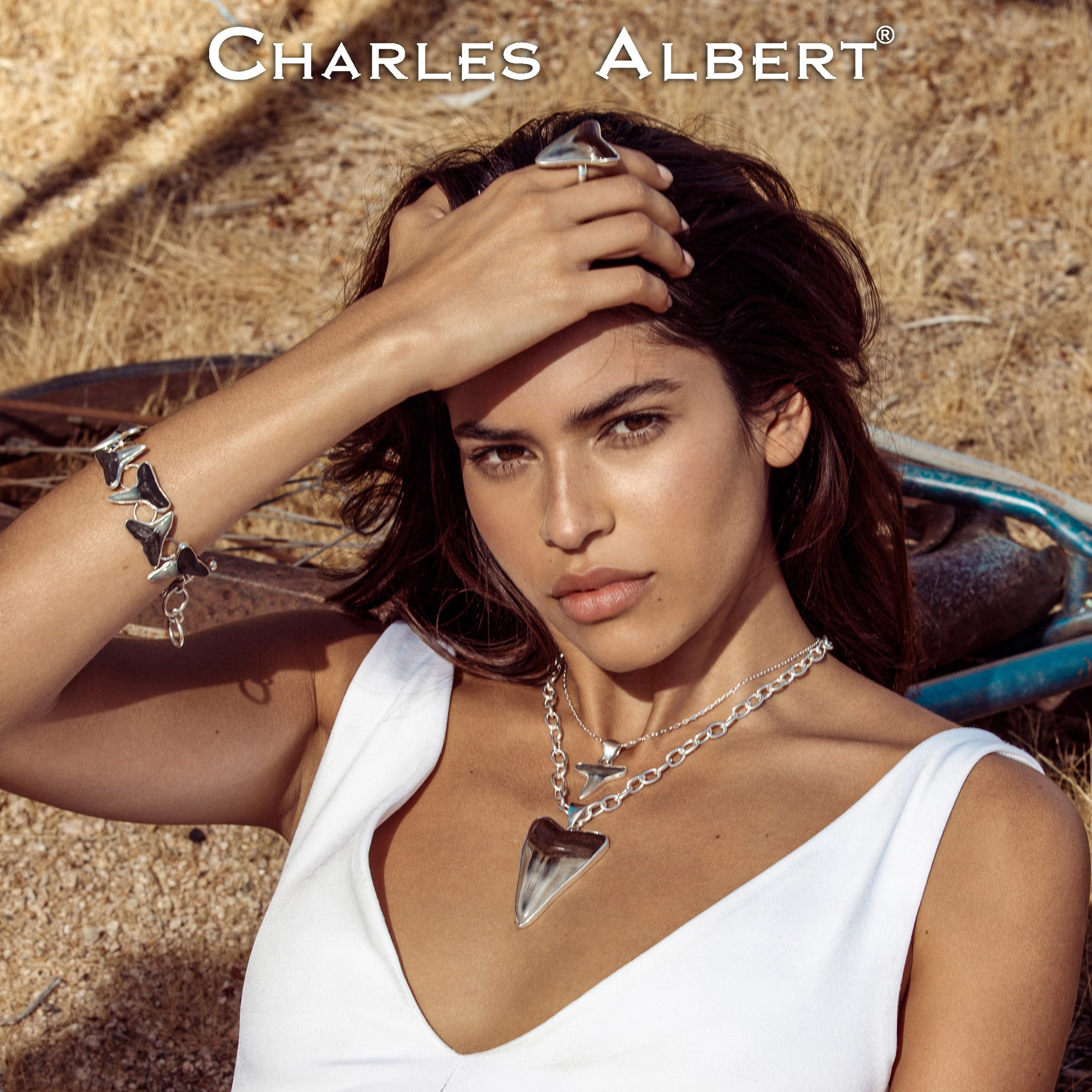 Sterling Silver Fossil Shark Tooth Pendant | Charles Albert Jewelry