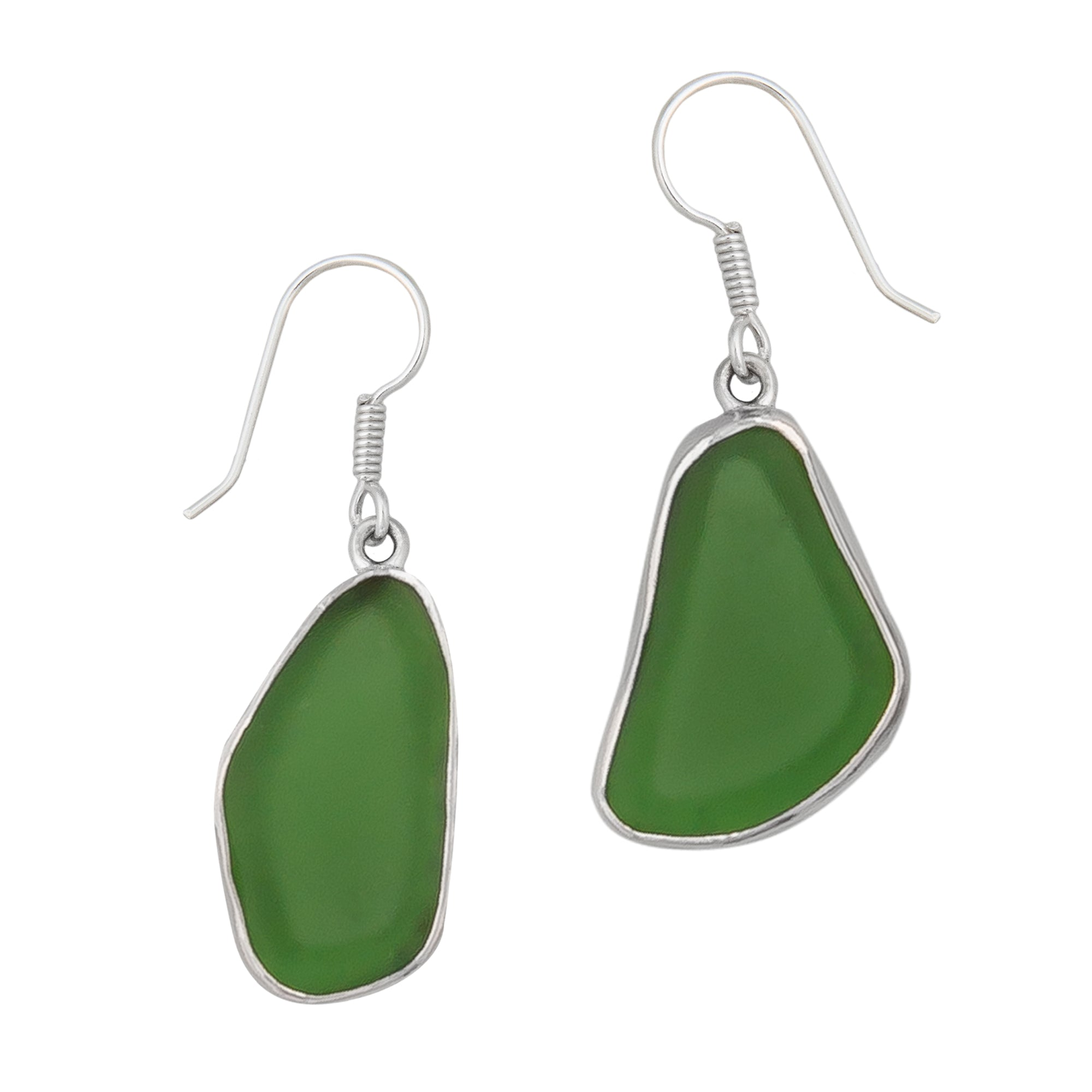 Sterling Silver Green Recycled Glass Drop Earrings | Charles Albert Jewelry