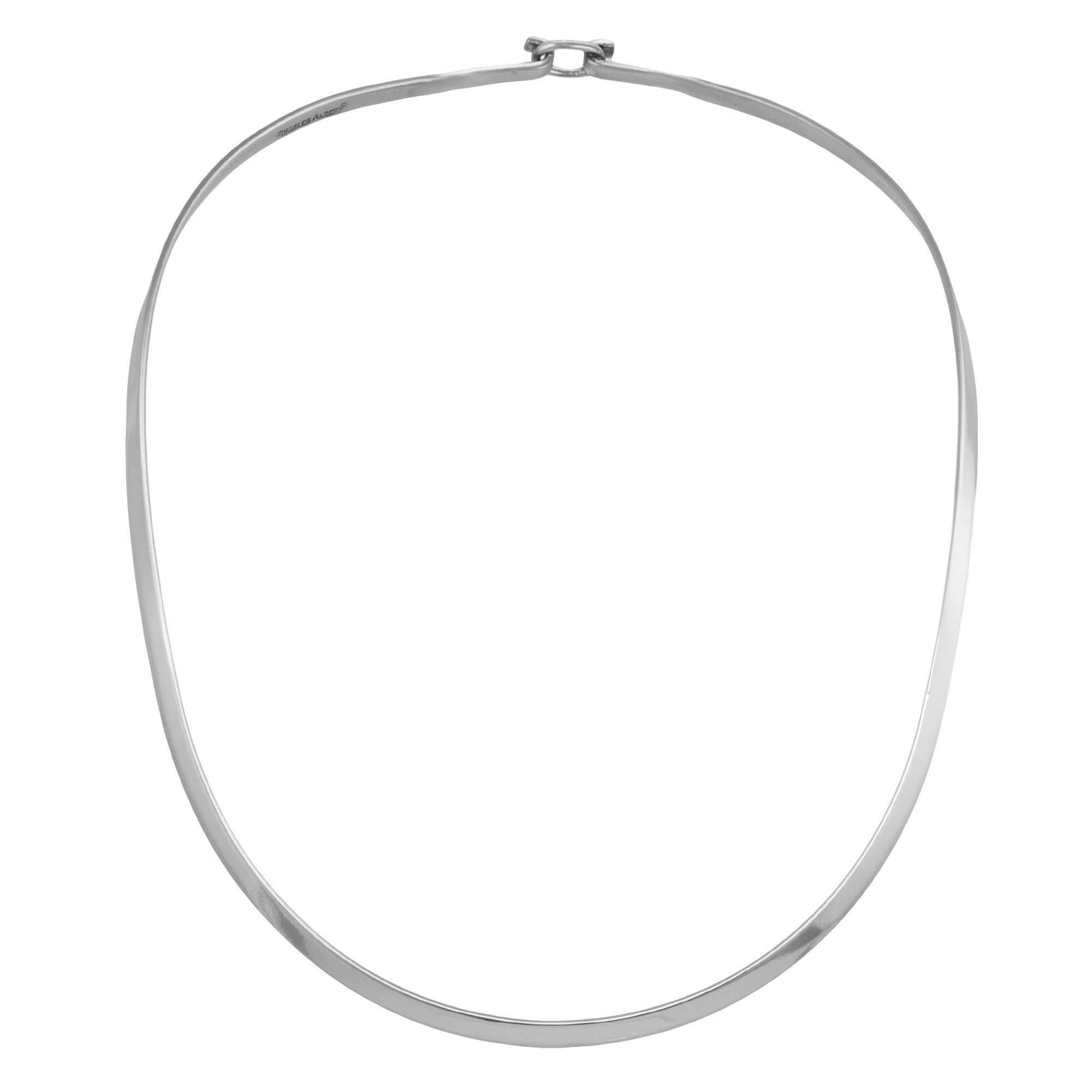 Silver Plated Oval Neckwire with Clasp