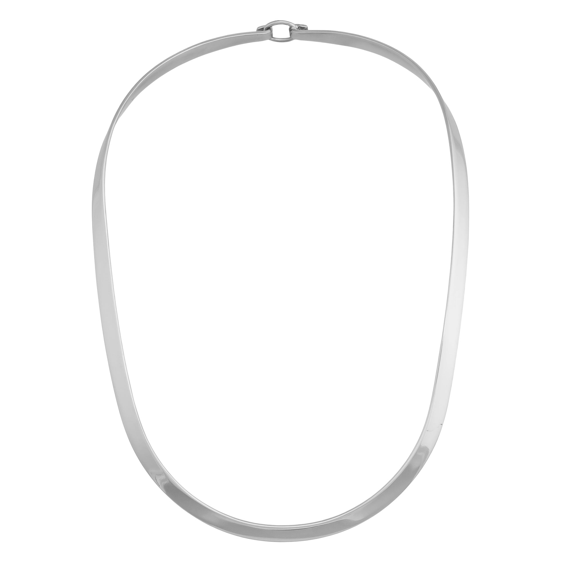 Silver Plated Thick Oval Neckwire with Clasp | Charles Albert Jewelry