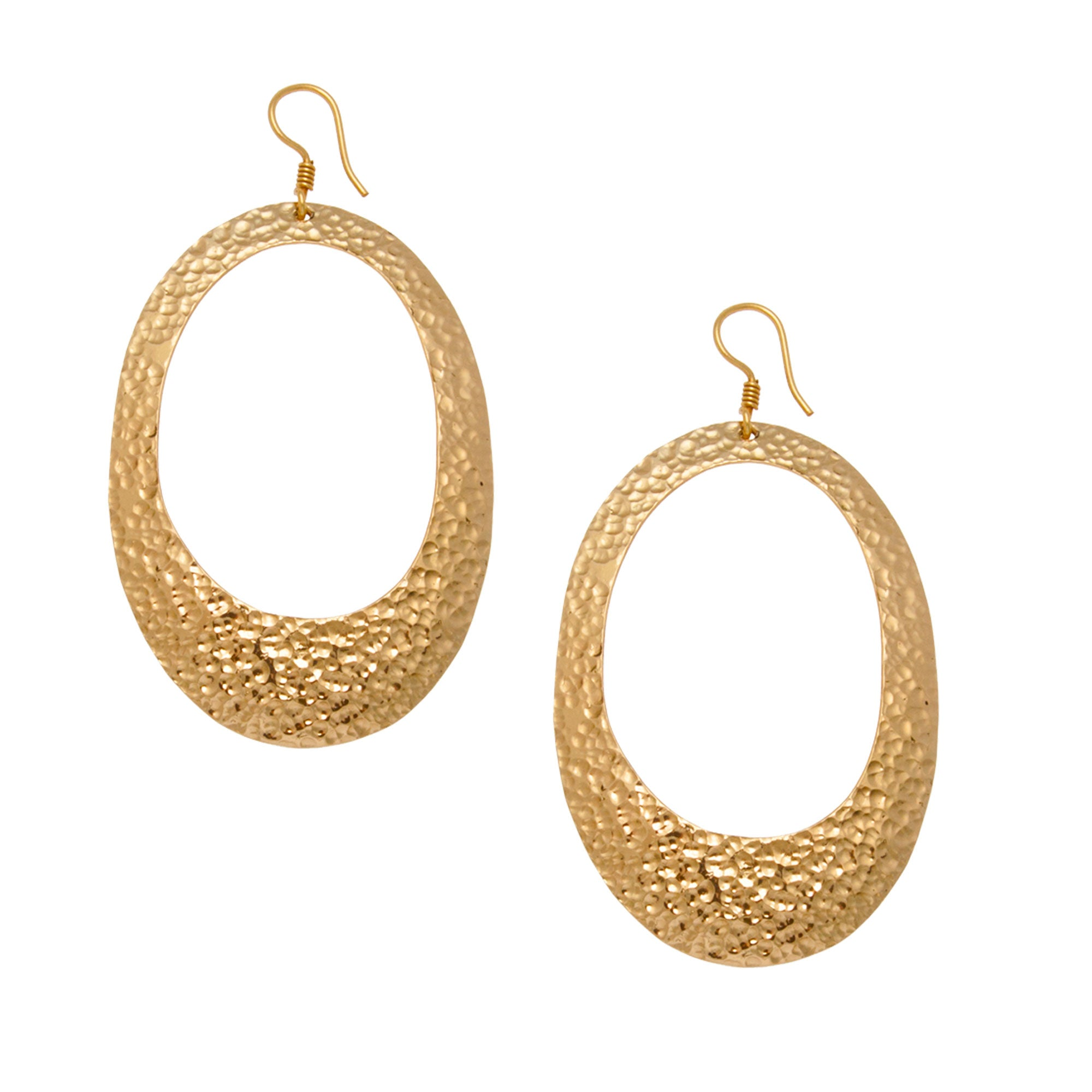 alchemia-oval-hammered-earrings - 1 - Charles Albert Inc