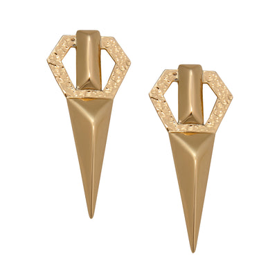 Alchemia-Pyramid-Point-Post-0k Gold-Earrings-1-Charles Albert Inc