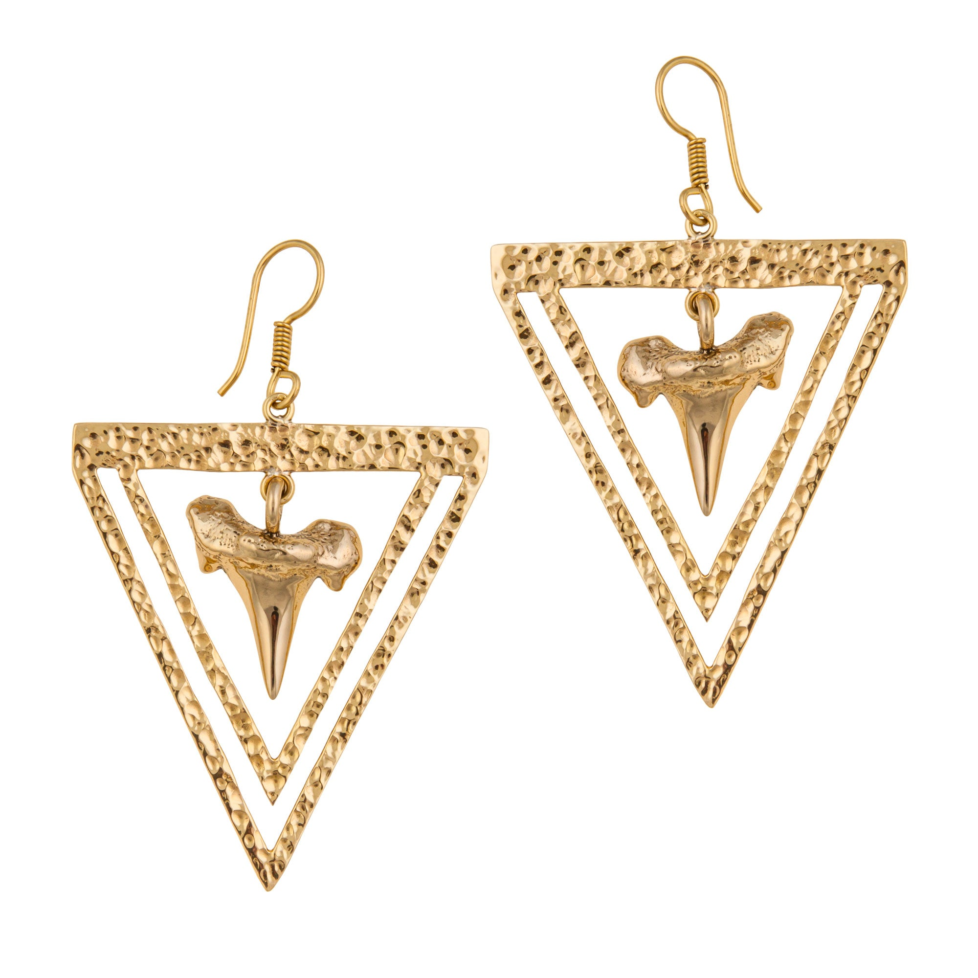 Alchemia Shark Teeth Hammered Triangle Earrings | Charles Albert Jewelry